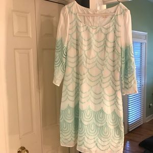 Anthropologie Aqua White printed dress